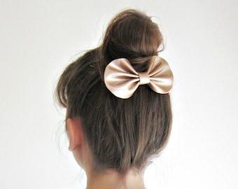 Champagner Leder Haar zu beugen, Haarspange, metallischen Glanz Lackleder Haarschleife, großen Bogen Brötchen Haar, Bronze Glanz Leder Bow, Big Hairbow clip