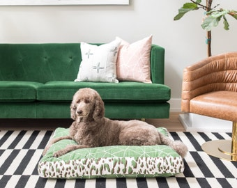 Emerald Green Washable Dog Bed Cover Doggie Duvet Zippered Pet Bed Cover Green and White Gemstone Dog Bed Replacement Cover Charlie Cushion