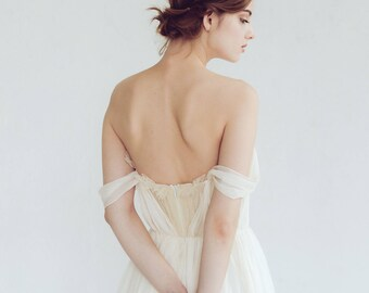 Off-shoulder wedding dress // Aura / Silk wedding gown, ivory bridal gown, slit dress, sweetheart corset wedding dress, bohemian wedding