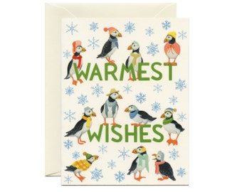 """Puffins Winter Outfits Holiday Card - """"Warmest Wishes"""" - ID: HOL192"""