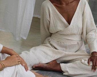 Linen Jumpsuit long sleeve. Kimono jumpsuit 100% Pure linen