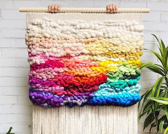 RAINBOW large woven wall hanging made to order, wall hanging, weaving, tapestry, woven wall art, home decor