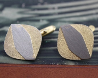 Vintage Cufflinks Gold Tone Brass Made in Germany '50s , a pair in the set