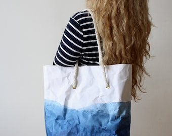 Shoulder bag, Indigo and White paper bag, summer, beach tote, washable paper bag, rope handles, blue and white, denim, Gift