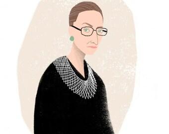 Justice Ruth Bader Ginsburg Portrait Illustration Art Print