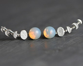 Moon phase silver ear climber. Ear crawlers with vintage opals. Celestial ear cuff earrings. Gift for her.