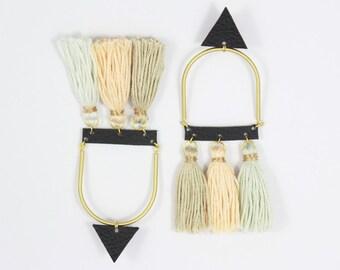 Statement Leather Earrings with Tassle •  Long Earrings • Leather Earrings • Geometric Earrings • Tassle Earrings •  Fashion Jewellery
