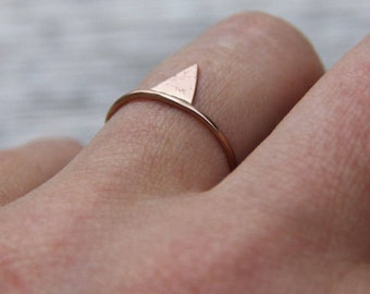 thin rose gold ring, Mixed metal ring, stacking ring set, mix and match rings, Triangle Ring