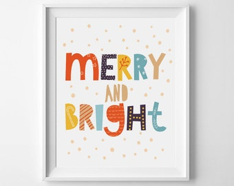 Christmas Sign, merry and bright print,  printable wall art, nursery printable, instant download, Christmas print, Christmas poster