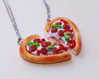 Best Friend Pizza Keychains - BFF Jewelry, Polymer Clay, Best Friend Keychain Set, Miniature Food Jewelry, Christmas Gift
