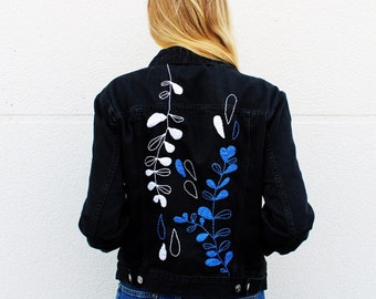 Hand embroidered denim jacket-small plants and rain beads