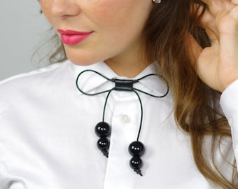 Delicate adjustable black leather bowtie with oversized acrylic pearls - Necklace - Choker - Necktie - Bow - Knot Necklace - Bow necklace