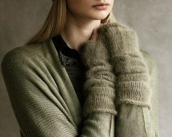 Angora Wool Armwarmers Mittens Long Fingerless Wristwarmers Hand-Made Knitted Khaki Olive