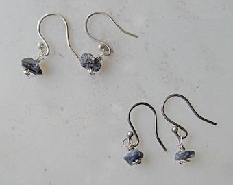 Raw Sapphire earrings - unusual silver earrings - Sapphire earrings - raw crystal earrings - raw stone earrings - edgy earrings - boho - UK