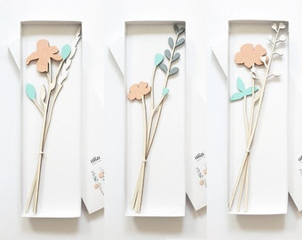 ALIZI SPRING - wooden flowers - N.3 / meadow flowers / plywood flowers / cute flowers / wood decoration / modern decoration / gift for her