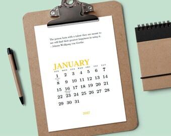 Druckbare Kalender - kreative Zitate - Download & Druck 2018 Kalender - minimalistischen Kalender - editierbare Kalender PDF - Kalendervorlage PDF