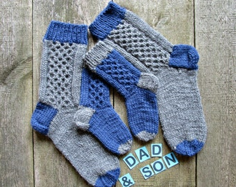 Father son matching socks for dad son Family knit socks Wool dad son socks Matching family socks set of 4 knit socks Dad and son gifts