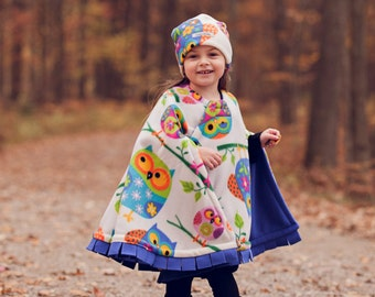 Owl - Cozy Gozy Travel Capes are warm winter fleece car seat capes that are a safe alternative to heavy coats in car seats.