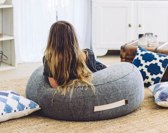 SALE - Bask Bean Bag, Charcoal, Round, Designer Beanbag, Floor Pouf