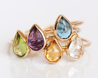 London Blue topaz and 14k gold ring, teardrop, rose cut, pear cut, solid 14k gold thin stacking ring, eco friendly, blue gemstone
