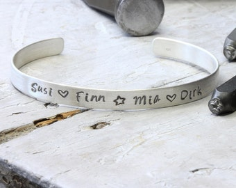 Bribe family 925 silver personalized, hand-stamped with names, wishful words