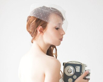 """Birdcage Wedding Veil, Polka dot Bridal Veil, Ivory Dotted Blusher Veil, Short Dotted Birdcage Wedding Veil - 10"""" Polka dot Veil"""