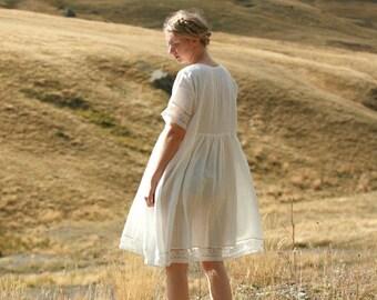 Washed linen knee length dress with pockets, ruffled shoulder detail, fun summer dress