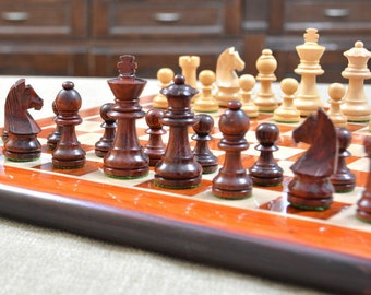 Staunton Chess Set Bud Rose Wood Chess Board 14 inches. SKU: D0107