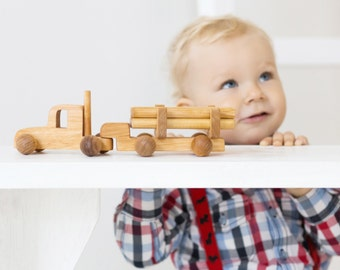 Log Truck with Cargo - Boy Birthday Gift - Wooden Push Toy - Natural, Toddler Gift - Wooden Car - Toddler Boy Gift - Kids Christmas Gift