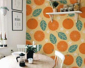 Vintage Oranges - removable wallpaper, peel and stick, colorful, retro wallpaper, fruits, oldshool, renters wallpaper, design, reusable #15