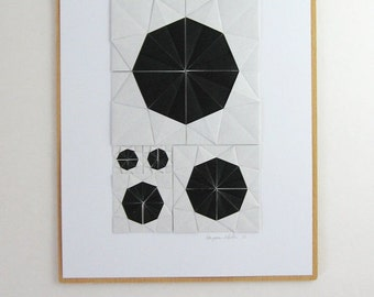 Origami Sketch No26 Black - Original Paper Collage - Modern Home Decor - Black & White Minimalist Art - Geometric Circles Paper Anniversary