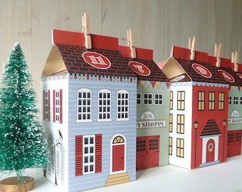 Advent Calendar Printable Christmas Village, DIY Paper Houses