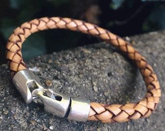 Silver Seahorse Bracelet, Leather Wrap Bracelet, Sterling Silver, Braided Leather Bracelet, Gift For Women