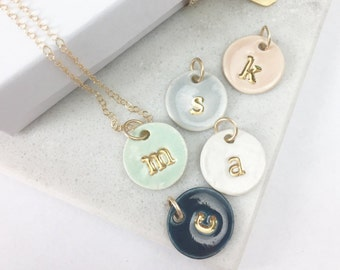 63b8f78552ff Four Charms Initial Delicate Necklace in 22k Gold Luster Overglaze on  Ceramic Stoneware Includes Chain handmade