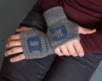 Grandfather Gift Knit Fingerless Mittens Mens Initial Gloves Gray Fingerless Gloves Personalized Gloves  Arm Warmers Gifts Under 40