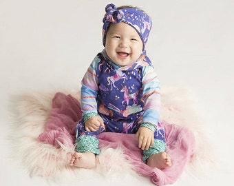 Unicorn romper // Baby girl clothes // Baby girl coming home outfit // Baby shower gift // New baby gift // Newborn outfit