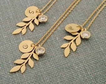 Gold Leaf Necklace, Rustic Bridesmaids Necklace, Personalized Necklace, Cubic Zirconia Charm, Bridesmaid Gift, Branch Necklace, Gift for Her