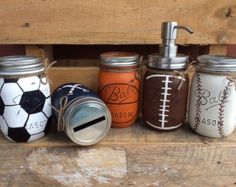 Mason Jars. Sports Jars. Bathroom, Bedroom, Party Decor. Christmas Gift, Fathers Day, Birthday Gift. Man Cave. Nursery Decor, Baby Shower