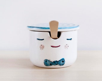 Pinocchio ceramic sugar bowl with lid and spoon - Pottery sugar bowl - Sugar set - Ceramics & pottery - Kawaii ceramic - Ceramic Clay