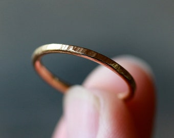 14k Gold Hammered Wedding Band, Gold Stacking Jewelry, Wedding Ring for Her