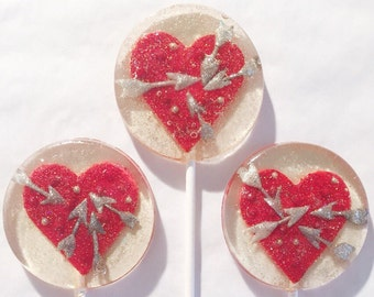 3 Natural Chocolate And Raspberry Flavored Hearts And Arrows Valentines Wedding Party Favors Lollipops