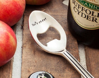 Personalised Silver Plated Spoon Bottle Opener, Beer, Cider, Ale