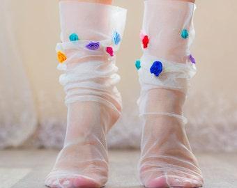 WHITE TULLE socks with Confetti ROSES - Fairy Princess Sheer Ankle Socks - Retro Fashion Mesh Socks Raw Tulle Edge  - Summer Socks heels