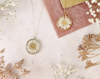 Personalised Pressed Flower  Daisy Necklace
