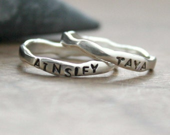 Personalized Ring, Sterling Silver Name Ring, Freeform Stacking Ring, Custom Ring, Hand Stamped Ring, Engraved Ring - Organic Colleen Ring