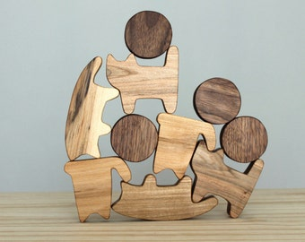 Wooden cats, wooden toy, Waldorf toy, wooden blocks, balance game