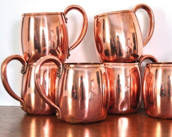 Vintage West Bend Copper Mugs, Solid Copper, Moscow Mule Cups, Set of Six