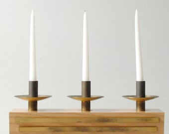 Mid Century Modern Candle Holder, Vintage Brass Candelabra (2 available)