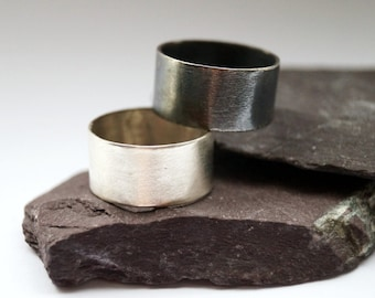 Wide Band Sterling Silver Ring ~ stacking ring, unisex, men's ring, women's ring, oxidised, statement ring