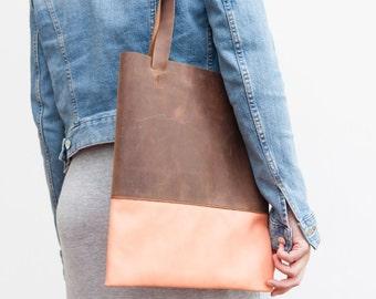 braunerLeder Shopper mit pastell,  Tote Tasche, handgemachte Ledertasche